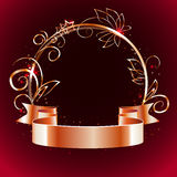 Gold ribbon and round frame with decorative elements Stock Photos