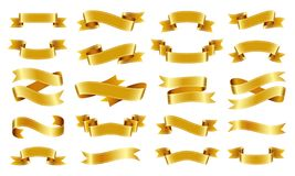 Gold ribbon Text banner flat tape icon vector set