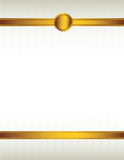 Gold ribbon and seal background 1. Gold ribbon and with a seal lining the top and bottom of a striped cream colored background stock illustration