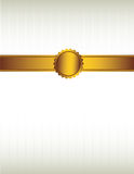 Gold ribbon and seal background 2. Gold ribbon and with a seal over a striped cream colored background royalty free illustration