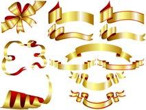 Gold ribbon set Stock Photography