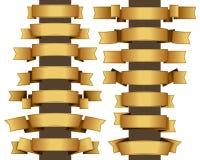 Gold ribbon set Stock Photos