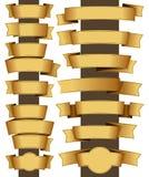 Gold ribbon set Royalty Free Stock Photography
