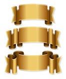 Gold ribbon set Royalty Free Stock Images