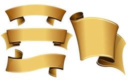 Gold ribbon set Royalty Free Stock Image