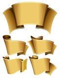 Gold ribbon set Royalty Free Stock Photos