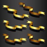 Gold ribbon set Stock Photography
