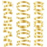 Gold_ribbon_set. Set of realistic gold ribbon icons isolated on white background Royalty Free Stock Images