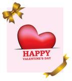 Gold Ribbon Vday Card Royalty Free Stock Photo