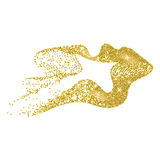 Gold ribbon. Vector abstract stippling gold lines. Gold shining background. Glitter jewels. Dotted textured shape stock illustration