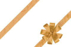 Gold Ribbon With The Bow Stock Photos