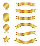 Gold ribbons and badges Royalty Free Stock Photo