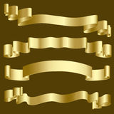 Gold ribbons and banners Royalty Free Stock Photos