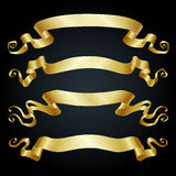 Gold ribbons on black background. Set of  banners. Gold ribbons on black background. Vector illustration Stock Images