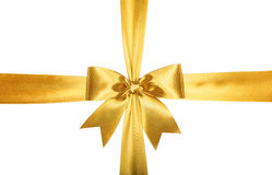 Gold ribbons with bow Stock Photo