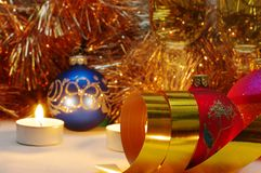Gold ribbons it are Christmas Stock Photography