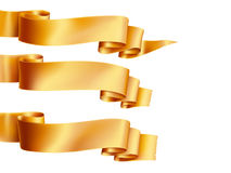 Gold ribbons horizontal banners set flat isolated on on the white background. Vector illustration Stock Photography