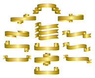 Gold Ribbons, Scrolls, Banners Royalty Free Stock Photo