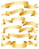 Gold ribbons set Royalty Free Stock Photography