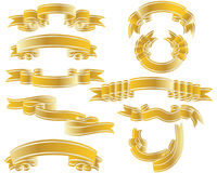 Gold ribbons set. Golden vector ribbons set. Collection of vector temlates Royalty Free Stock Photos