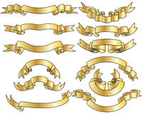Gold ribbons set Stock Photography