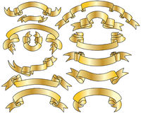 Gold ribbons set. Golden vector ribbons set. Collection of vector templates Royalty Free Stock Photo
