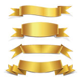 Gold  ribbons Set,  Banners Royalty Free Stock Images