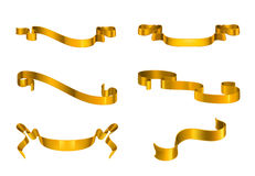 Gold ribbons set Royalty Free Stock Images