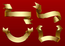 Gold ribbons set  on dark red background Royalty Free Stock Photos