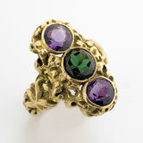 Gold Ring. With three large  gem stones Stock Photos