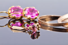 Gold ring with alexandrite Royalty Free Stock Image