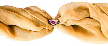 Gold ring with amethyst Stock Images