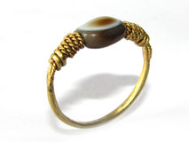 Gold Ring with Ancient eye agate bead Royalty Free Stock Photography