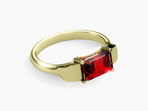 Gold ring. Beautiful gold ring with a ruby Vector Illustration