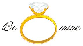 Ring and two black letters. Gold ring and black words be mine Stock Illustration