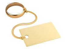Gold ring with a blank tag, tied to a rope. Royalty Free Stock Images