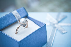 Gold Ring in the box. Gold ring in the blue box Royalty Free Stock Photo