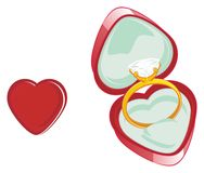 Red heart and two thinkgs. Gold ring in box with red heart stock illustration