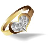 Gold ring with brilliant heart Stock Image
