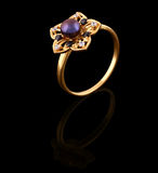 Gold ring with brilliants Royalty Free Stock Photos