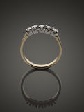 Gold ring with brilliants Royalty Free Stock Photo