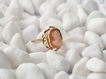 Gold ring with cameo Royalty Free Stock Images