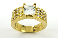 Gold ring with circons Stock Images