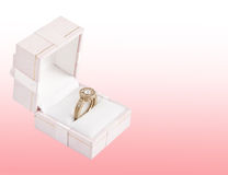 Gold ring with diamond. In box Royalty Free Stock Photography