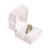 Gold ring with diamond in box Royalty Free Stock Photos