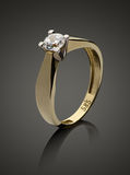 Gold ring with diamond Stock Photo