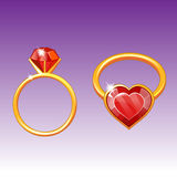 A gold ring with. A ring with a diamond in form a heart vector illustration