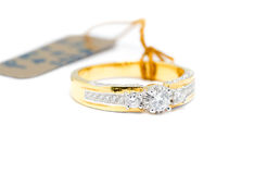 Gold ring with diamond isolated Stock Image