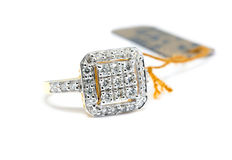 Gold ring with diamond isolated Royalty Free Stock Photography