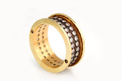 Large Gold ring with  diamonds Stock Photo